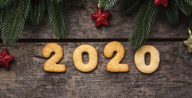 Gingerbread New Year cookies in the shape of numbers 2020