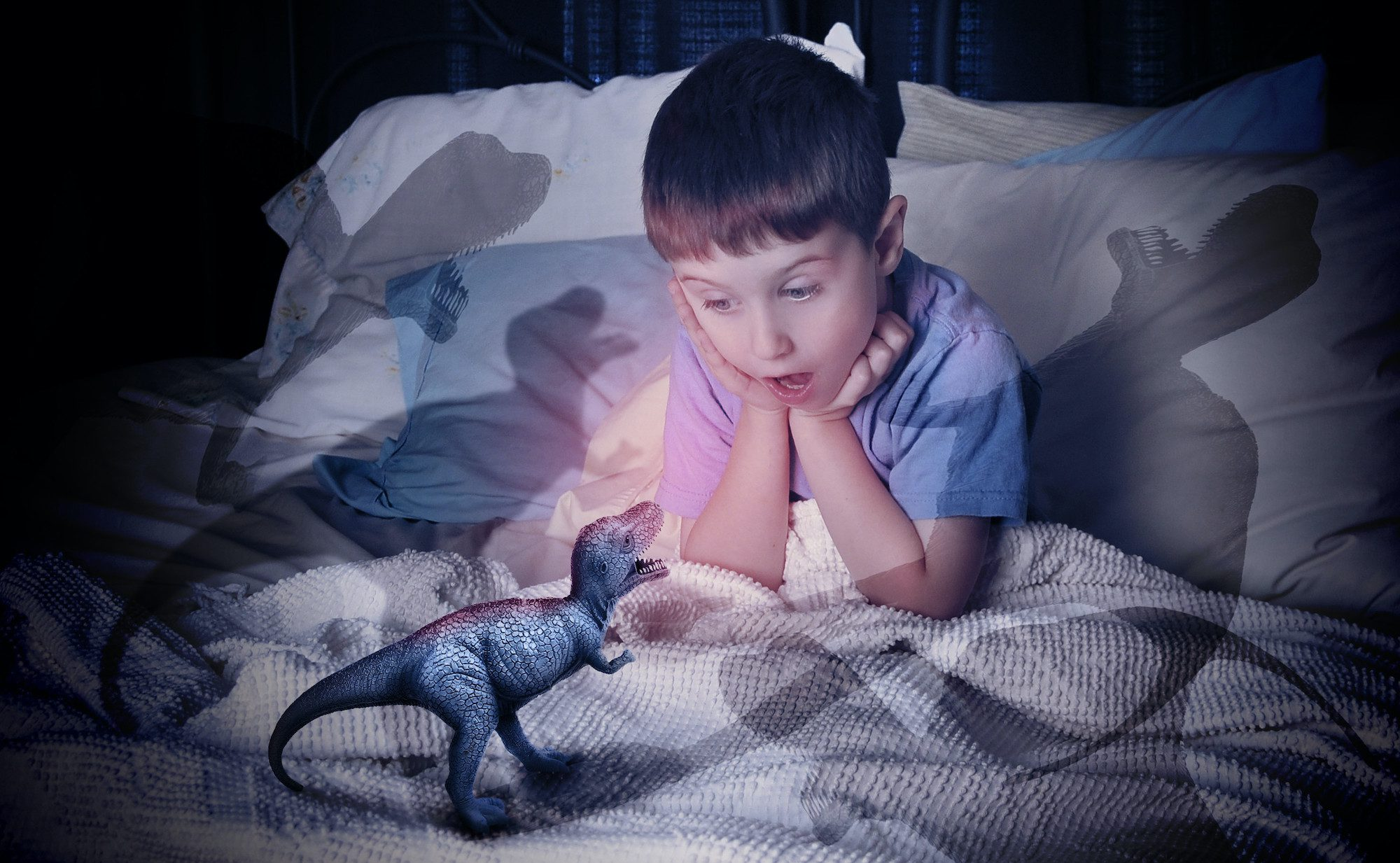 Child scared of dinosaur in bed at night