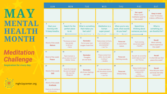 May Mental Health Month - Meditation Challenge Calendar - Inspiration for every day, from mghclaycenter.org