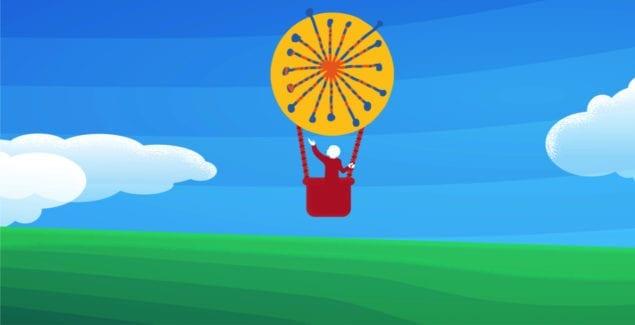 Clay Center logo hot air balloon over blue sky, hopeful background