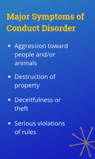 Sidebar - Aggression toward people and/or animals; Destruction of property; Deceitfulness or theft; Serious violations of rules