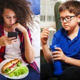 Split photo of girl using cell phone while eating big sandwich and boy holding potato chip and looking sad