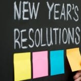 New Year's resolutions on a chalkboard