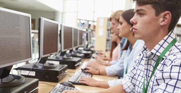 Students using computers at school