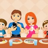 colorful illustration of family with at the dinner table holding cell phones