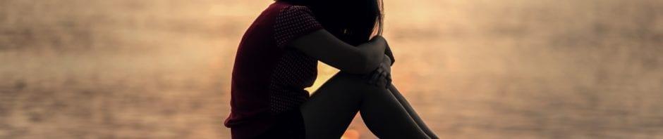Sad girl on a deck
