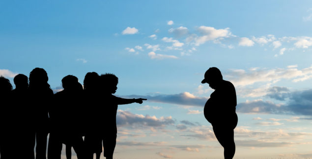 Children expel fat boy - silhouettes on background of sky