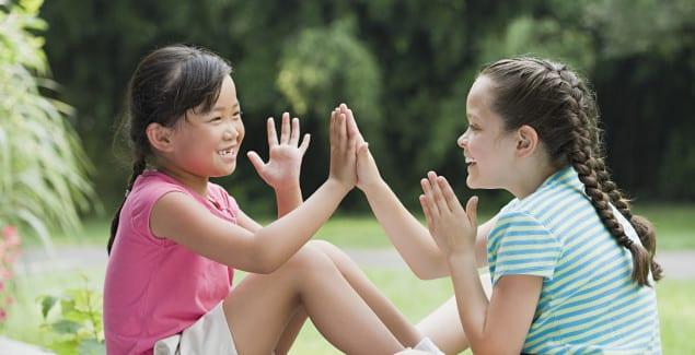 girls playing outside